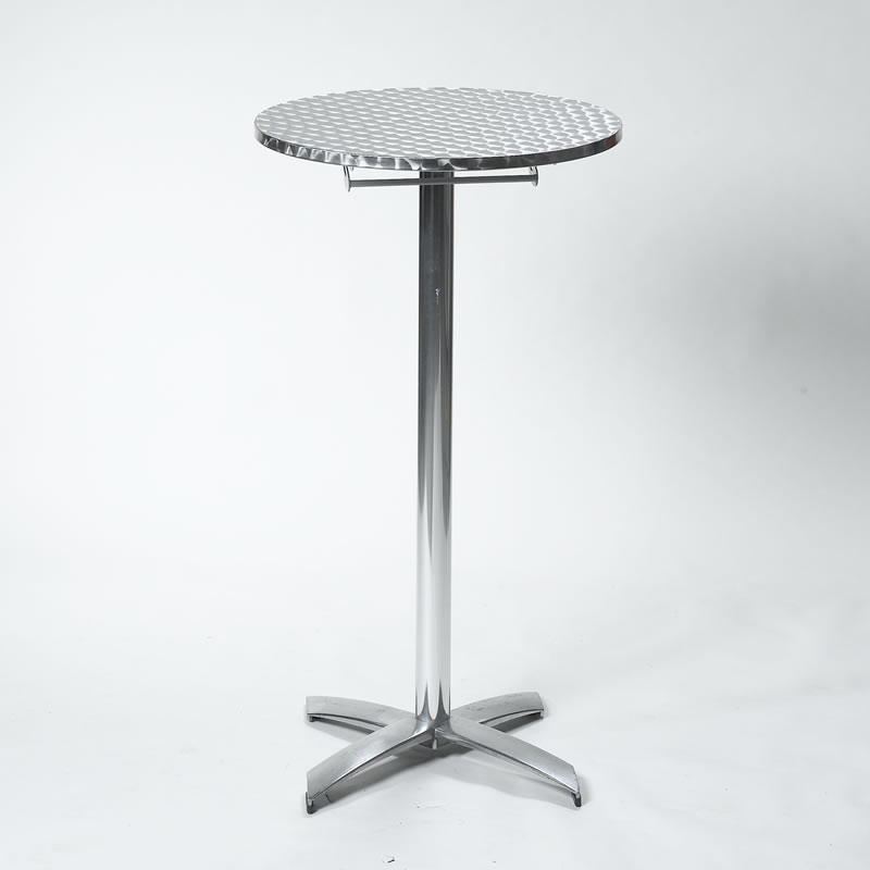 24 Round X 42 High Brushed Aluminum Standup Cocktail Table