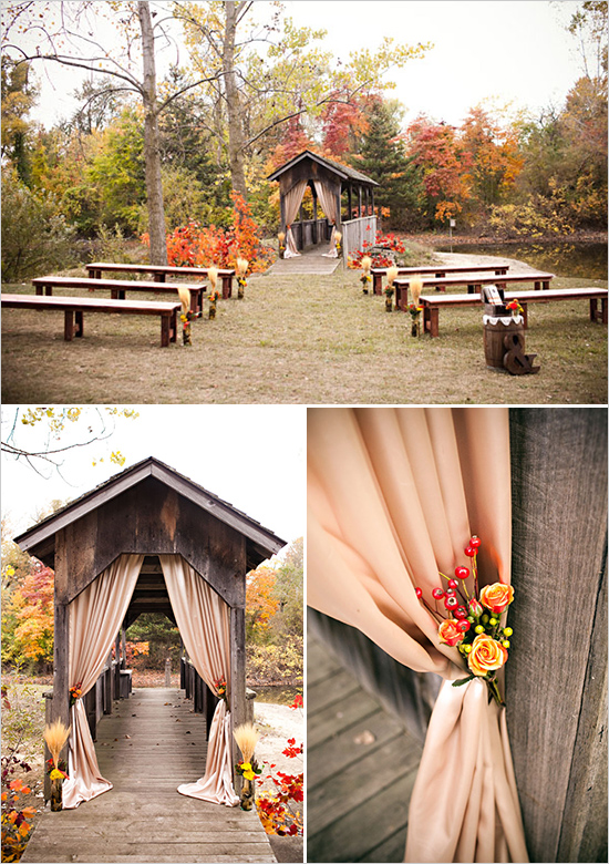 fall wedding ceremony seating