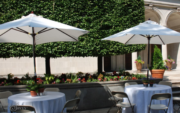 Guest Seating with Umbrella Tables