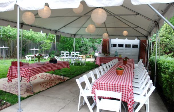 frame tent rental with banquet tables