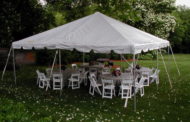 frame tent with round tables