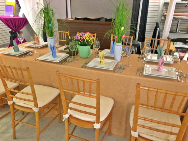 easter table grass centerpieces