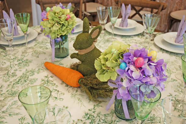 easter table hydrangeas