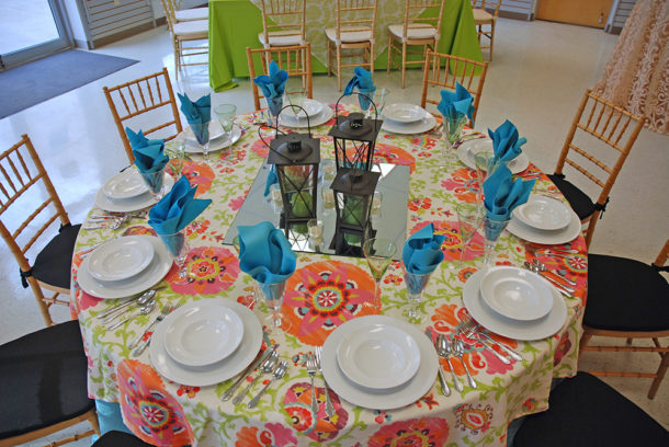 colorful tie dye table