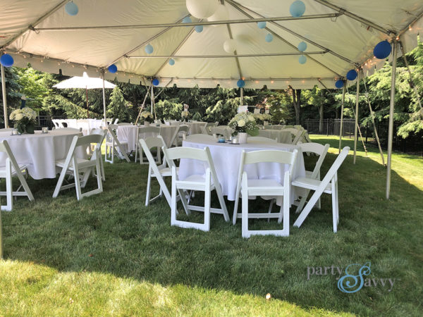 blue and white graduation tent interior