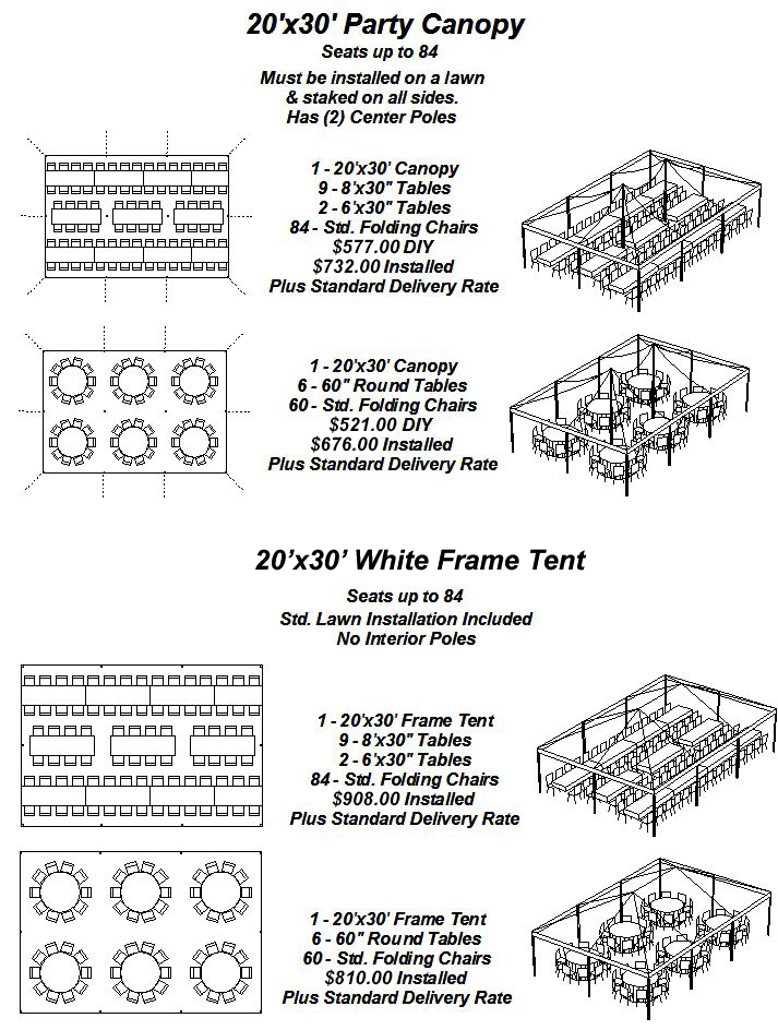 20\'x30\' Party Canopy & White Frame Tent Layouts | PartySavvy Tents