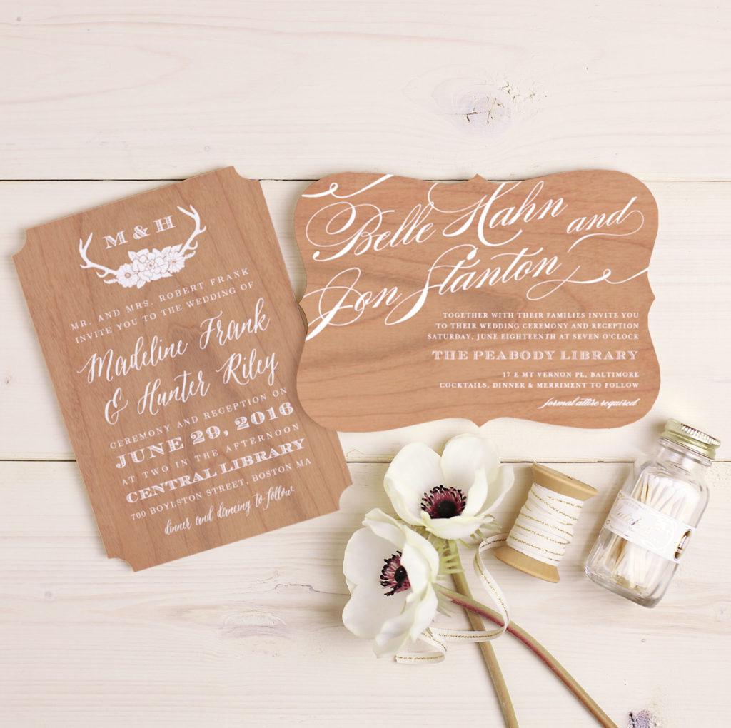 Basic Invite wood cards