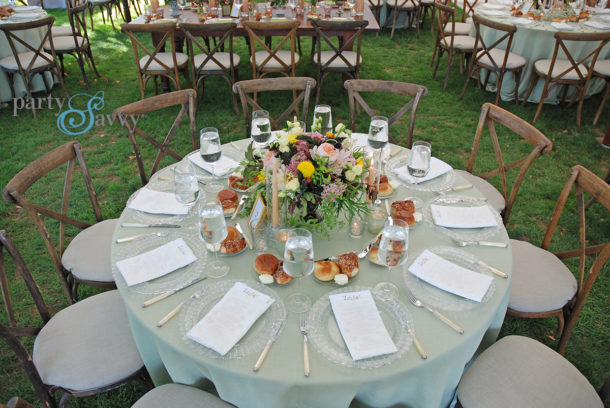 green round table linens