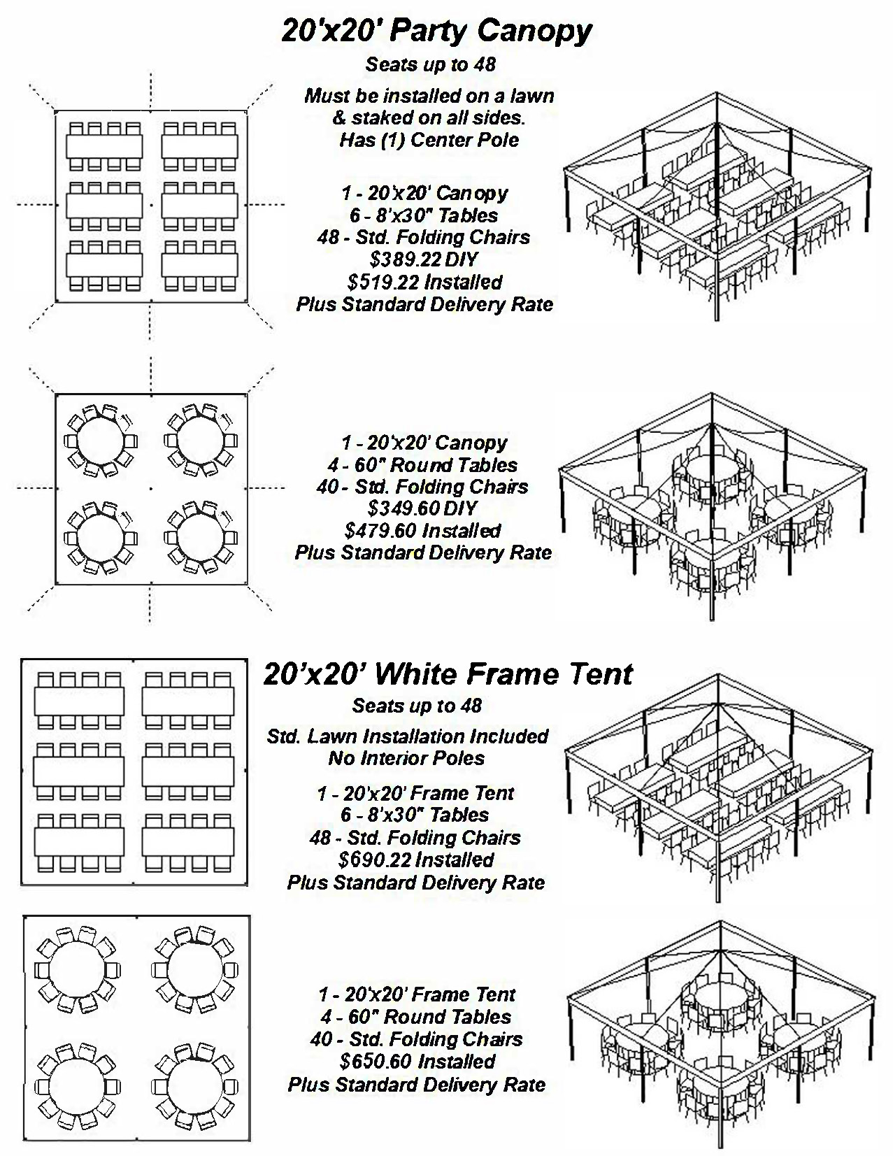 Popular Party Tent Layouts 20x20